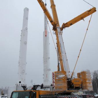 Работа 400 тонного автокрана