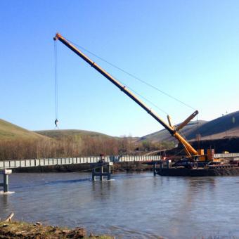 Строительство моста через р. Чарыш